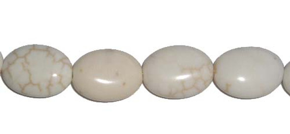 13x18mm 22 Beads White Howlite Oval Beads