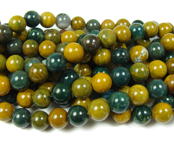10mm Ocean Jasper Smooth Round Beads