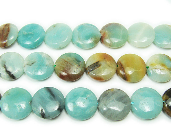 14mm Multi amazonite natural coin beads