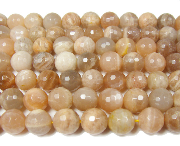 Sun stone faceted round beads