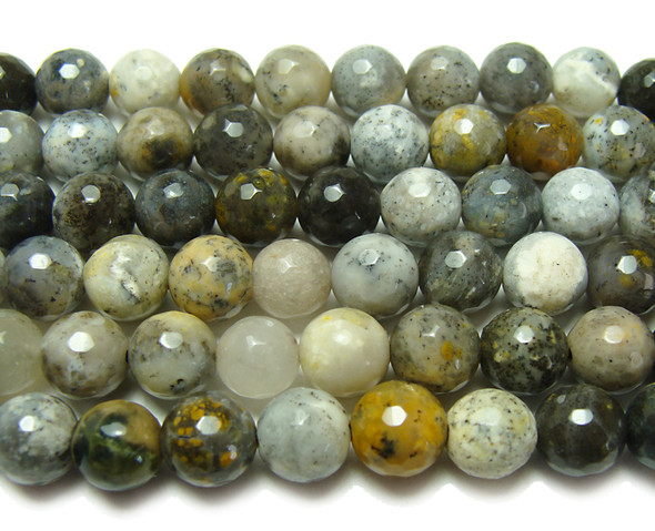 Australian moss opal faceted round beads