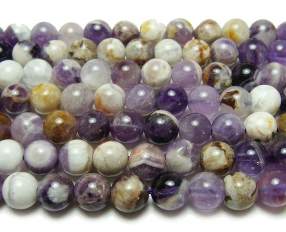 6mm Charoite purple white brown smooth round beads