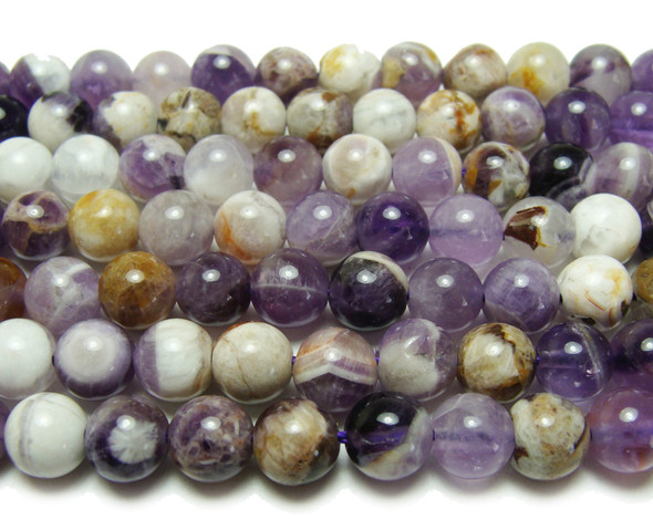 8mm Multi Amethyst Smooth Round Beads