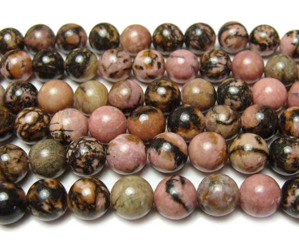 10mm Rhodonite with matrix smooth round beads