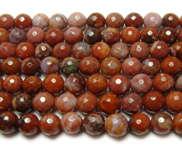 12mm 15.5 Inches Portuguese Agate Faceted Round Beads