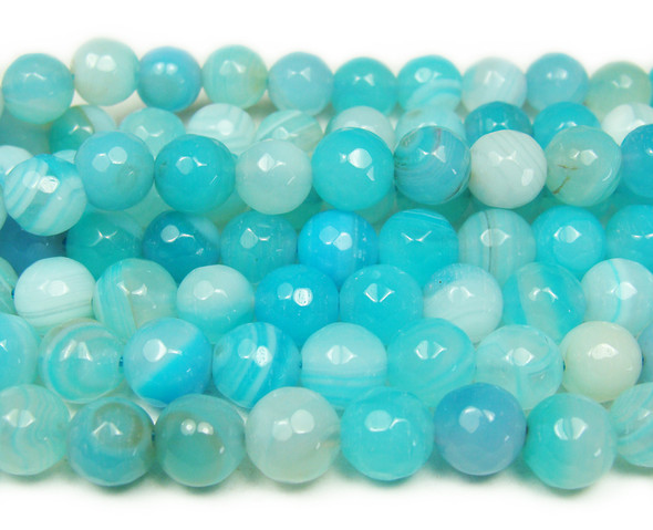 10mm Sky Blue Striped Agate Faceted Round Beads