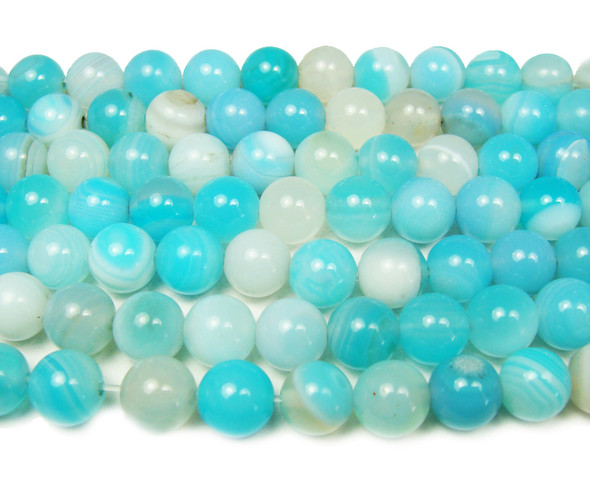 10mm Sky Blue Striped Agate Smooth Round Beads