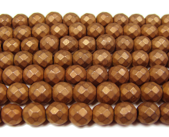 8mm Coffee Brown Hematite Matte Faceted Round Beads