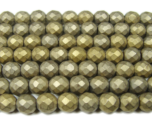 8mm Beige Hematite Matte Faceted Round Beads