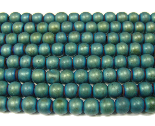 6mm Dark Sea Green Hematite Matte Round Beads