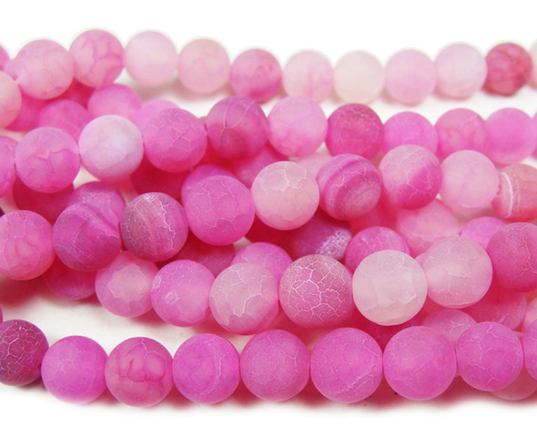 8mm Hot pink matte agate round beads