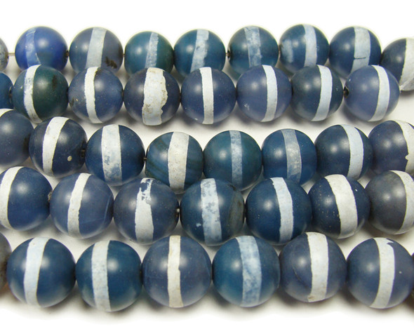 "12mm 15.5"" White Line Blue Agate Smooth Round Beads"