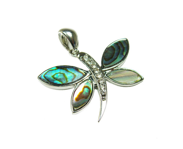25x35mm Abalone shell butterfly pendant with CZ