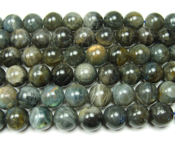 12mm Labradorite Round Beads With Blue Iridescence