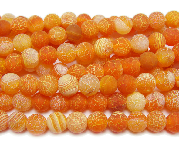 8mm 15.5 Inches Orange Agate Matte Round Beads