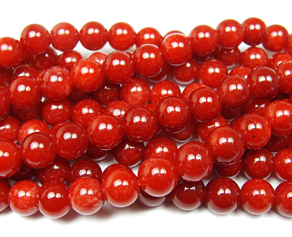 Coral red jade smooth round beads