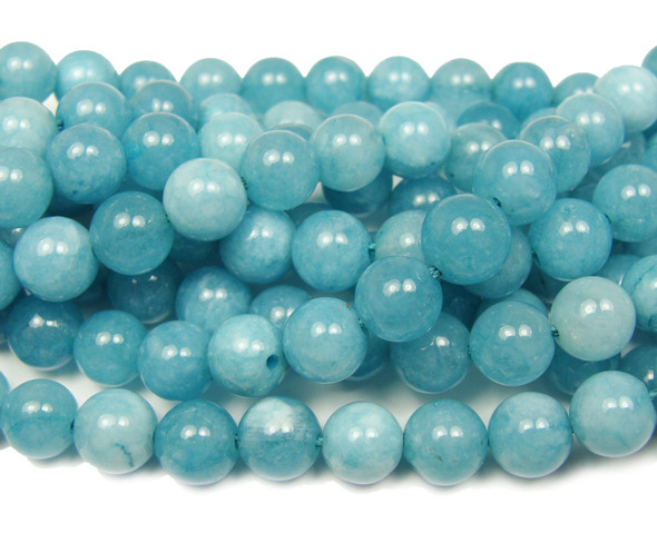Aquamarine jade smooth round beads