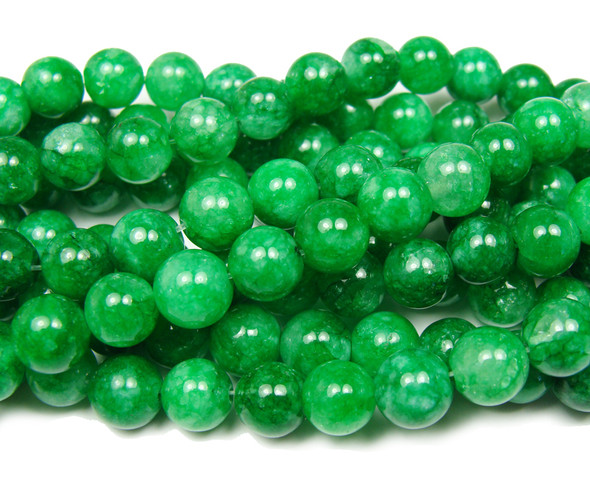 8mm Green leaf jade round beads