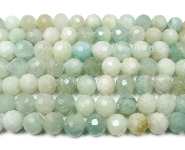 8mm Finely cut shiny aquamarine beads