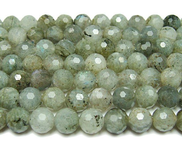 8mm Finely Cut Shiny Labradorite Beads