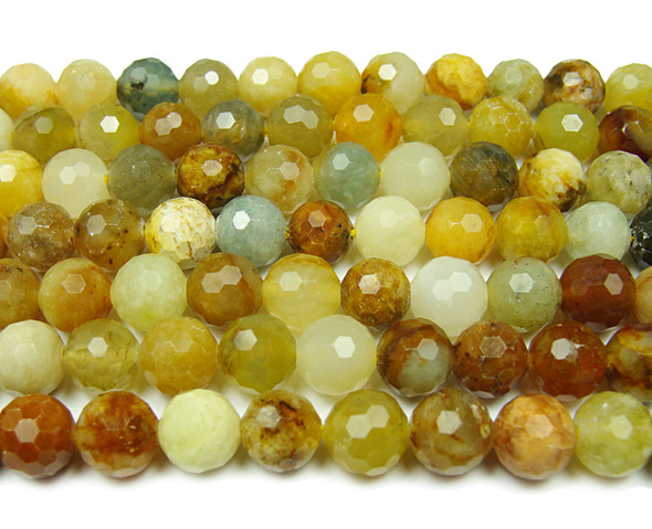 8mm Finely Cut Shiny Floral Sweet Jasper Beads