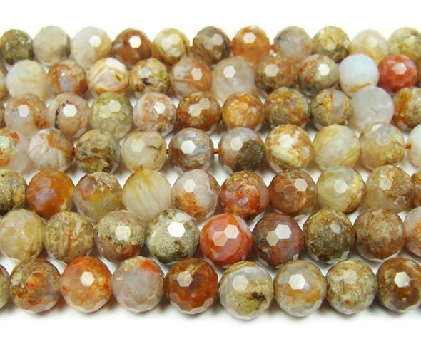 8mm Finely cut shiny aqua nueva agate beads