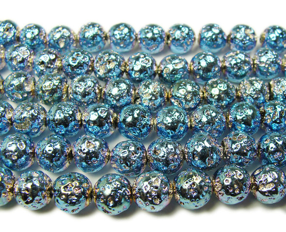 8mm Blue metallic lava round beads