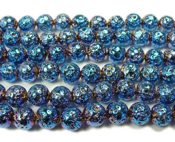 6mm Dark Blue Metallic Lava Round Beads