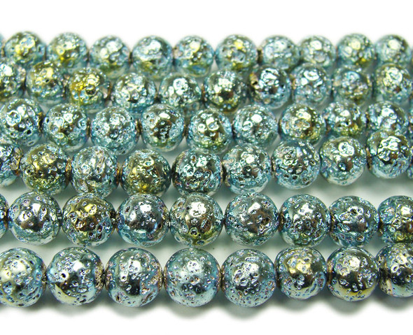 6mm Light blue metallic lava round beads