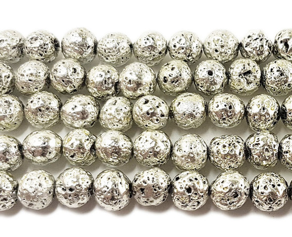 6mm Silver metallic lava round beads
