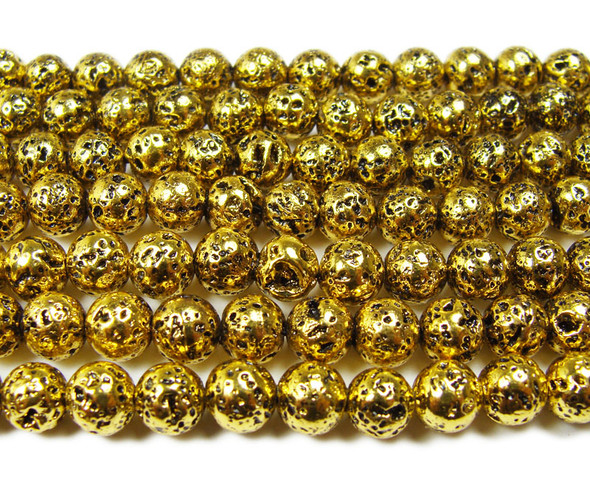 6mm Bronze gold metallic lava round beads