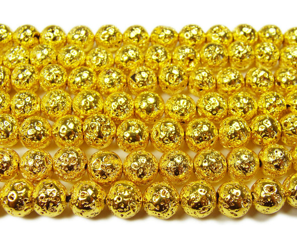 8mm Bright gold metallic lava round beads