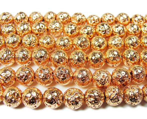 8mm Rose gold metallic lava round beads