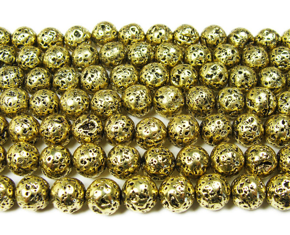 8mm Bronze metallic lava round beads