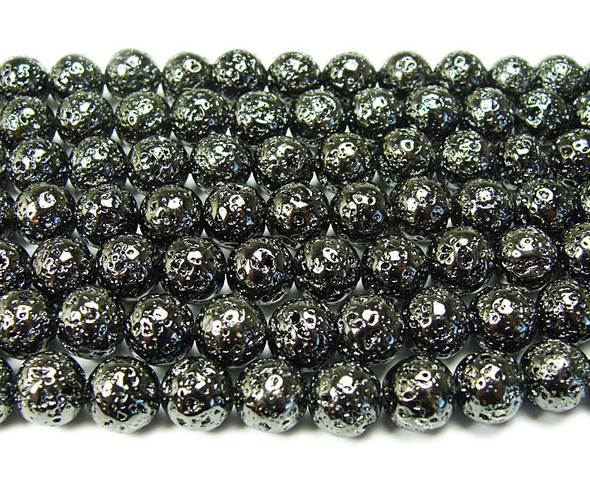 8mm Black metallic lava round beads