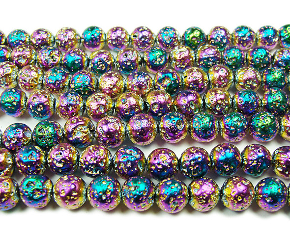 8mm Dark multi-color metallic lava round beads