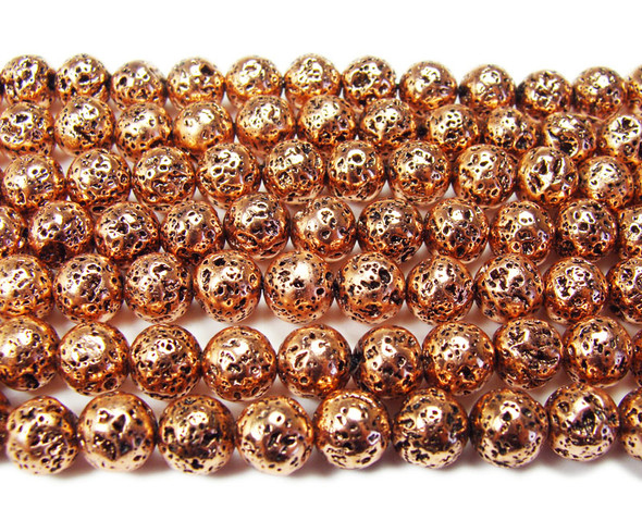 8mm Dark rose gold metallic lava round beads