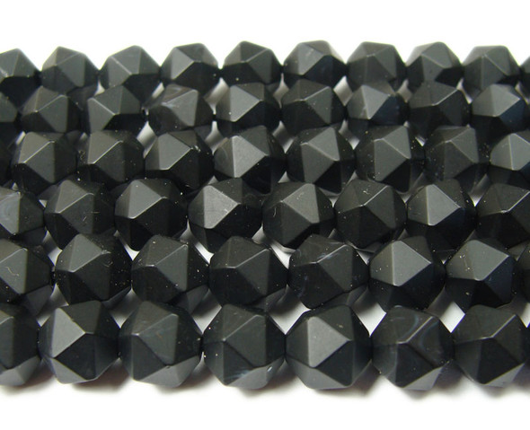 10mm  15.5 inches Black matte diamond-cut glass beads