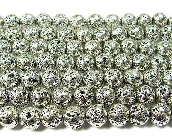 6mm Pewter color metallic lava round beads
