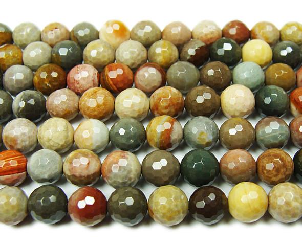 6mm Landscape jasper faceted round beads