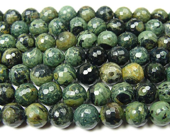 10mm Green Eye Jasper Faceted Round Beads