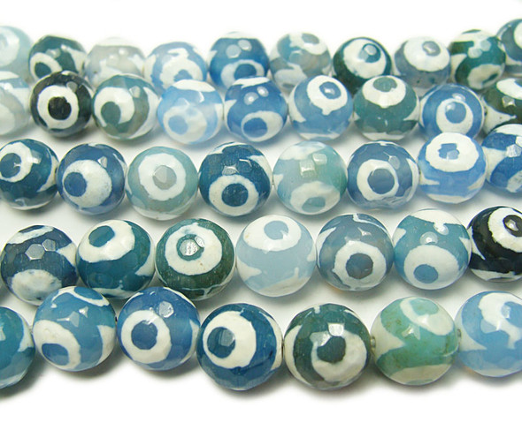 8mm Tibetan Style Blue Third Eye Faceted Beads