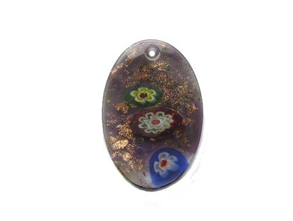 32x43mm  purple Murano style oval pendant