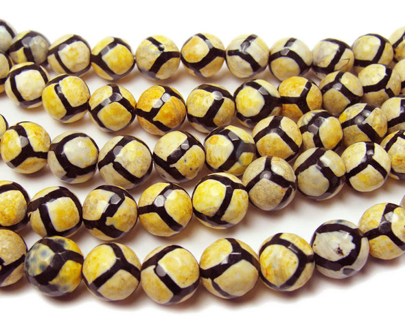 10mm Tibetan style yellow soccer faceted beads