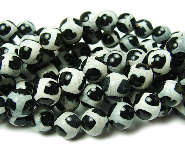 8mm Tibetan Style Black And White Agate Soccer Beads