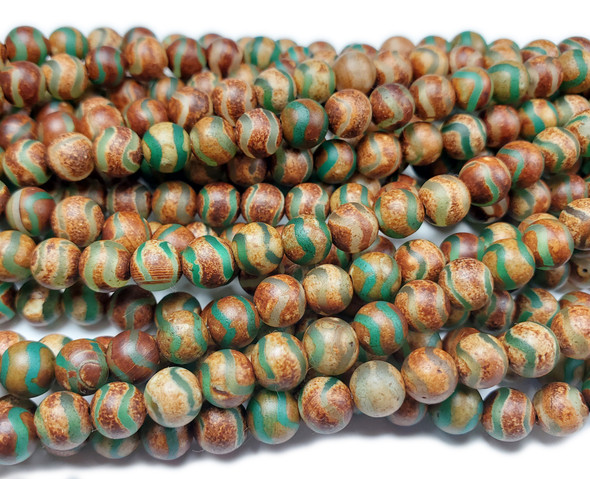 6mm Antiqued Wavy Green Line Brown Agate Beads