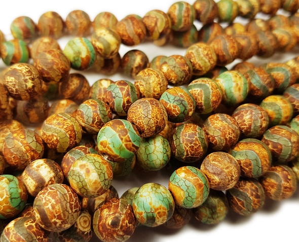 10mm Tibetan Style Brown Wavy Line Agate Beads