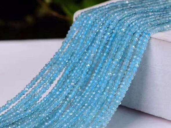 3mm Finely Cut Blue Apatite Transparent Faceted Round