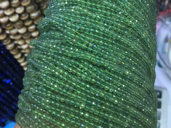 """3mm  15.25"""" Finely cut green apatite faceted round"""