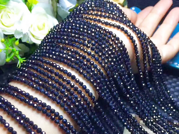 """2mm 15.25"""" Finely Cut Black Spinel Faceted Round"""